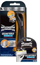 Wilkinson Sword Quattro Titanium Precision razor with bades